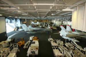 One of the three hangars of the USS Nimitz