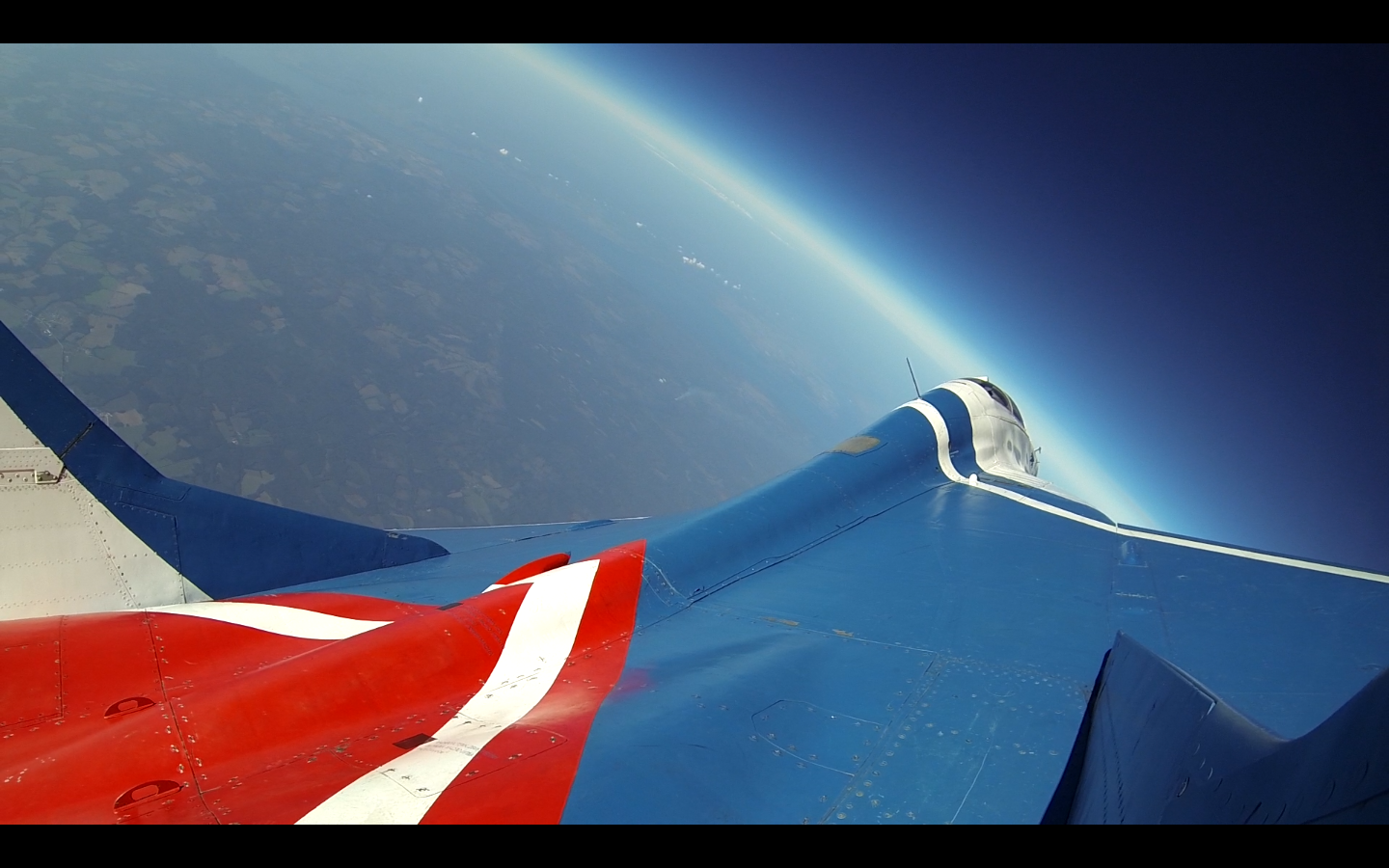 MiG-29 at the Edge of Space. Photo taken from the MiG-29 fin at more than 18km altitude.