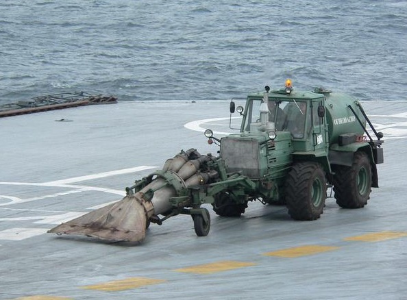 russians clear their aircraft carrier with this jet powered vacuum cleaner